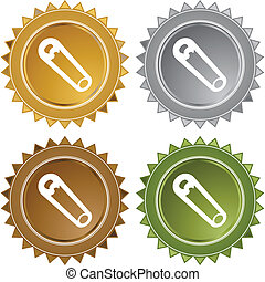Safety Pin web button isolated on a background.