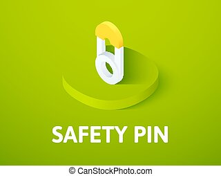 Safety pin isometric icon, isolated on color background