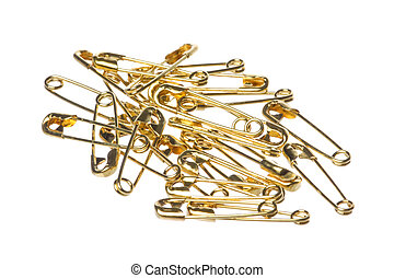 Safety Pins Macro Isolated - Isolated macro image of safety...