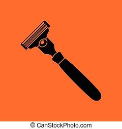 Safety razor icon. Orange background with black. Vector...