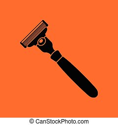 Safety razor icon. Orange background with black. Vector...