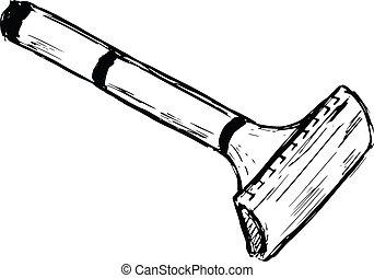 safety razor - hand drawn, cartoon, sketch illustration of...