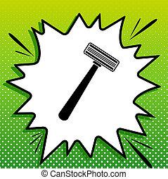 Safety razor sign. Black Icon on white popart Splash at green background with white spots. Illustration.