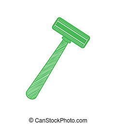 Safety razor sign. Green scribble Icon with solid contour on white background. Illustration.