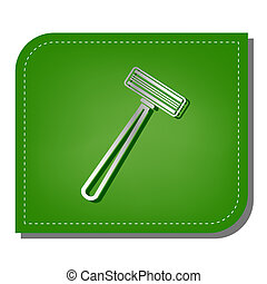Safety razor sign. Silver gradient line icon with dark green shadow at ecological patched green leaf. Illustration.