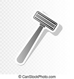 Safety razor sign. Vector. New year blackish icon on transparent background with transition.