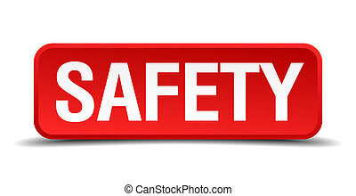 Safety red 3d square button isolated on white