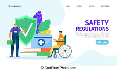 Safety regulations for man people health work, vector illustration. Danger, disease prevention with special equipment, accident at workplace.