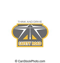Safety road isolated icon with highway crossroad