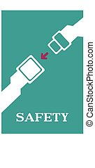 Safety seat belt caution poster