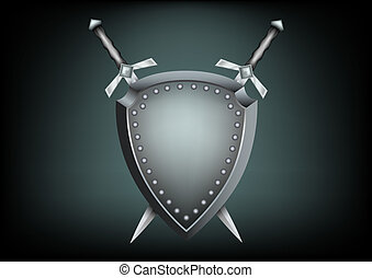 safety shield and swords - The safety shield and warrior...