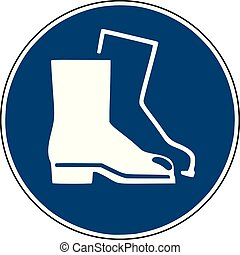 safety shoes icon  - blue  sign for construction site safety -
