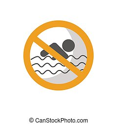 Safety sign swimming forbidden vector illustration isolated on white