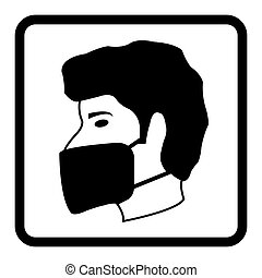 Wear face Mask icon drawing by Illustration - Safety Sign. ...