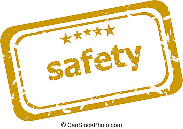 safety stamp isolated on white background