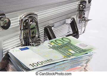 safety - aluminium suitcase with a pile of european...
