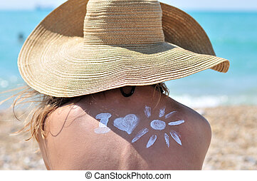 safety sun - Sun Protection, girl using sunscreen to safe...
