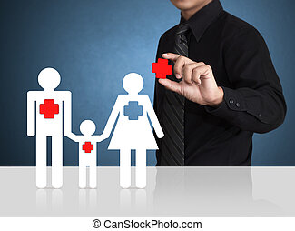 Safety symbol, Insurance concept - Man hand holding safety...