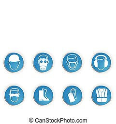 Safety symbols - Icons representing 8 important safety...
