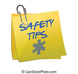 safety tips post it sign illustration design over white