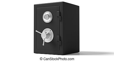 Safety vault isolated black with closed door on a white background. 3d illustration.