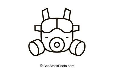 safety vest Icon Animation. black safety vest animated icon on white background