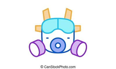 safety vest Icon Animation. color safety vest animated icon on white background