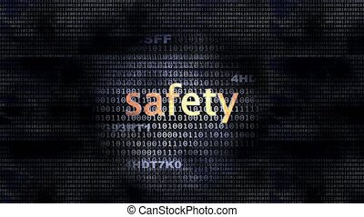 Safety - The word Safety in front of a digital background...
