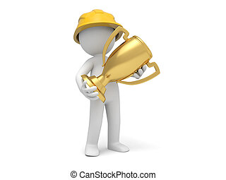 Safety worker - A 3d safety worker holding a gold trophy