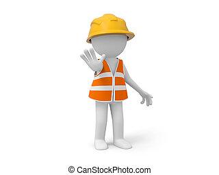 Safety worker - A 3d safety worker making a %u201CSTOP%u201D...