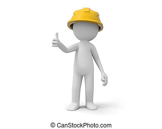 Safety worker - A 3d safety worker standing /safety/ worker