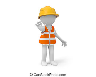 Safety worker - A 3d safety worker making a %u201CSTOP%u201D...