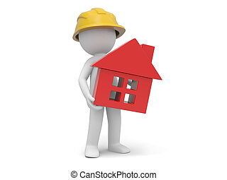 Safety worker - A 3d worker holding a house model