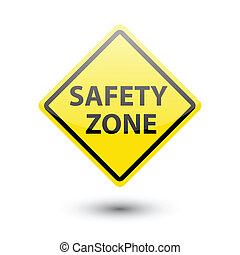 Safety zone yellow label sign on white