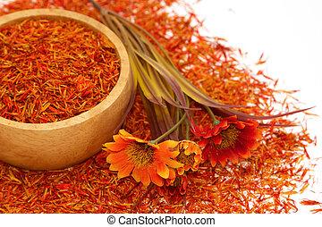 Safflower, False Saffron, Saffron Thistle (Carthamus ...