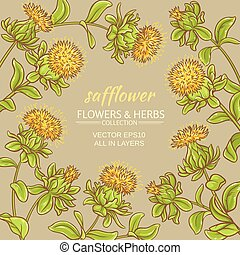 safflower vector frame - safflower plant vector frame on...