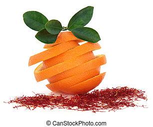 saffran, och, apelsin, frukt