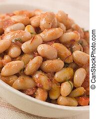 Saffron and Tomato Braised Cannellini Beans