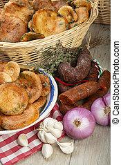 Saffron milk caps ans Spanish sausages