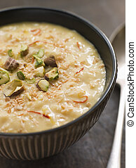 Saffron Pistachio and Coconut Rice Pudding