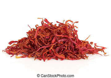 Saffron spice threads isolated over white background. Safranum.
