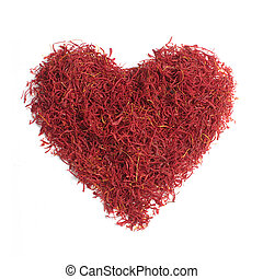 Saffron strands on a white background
