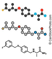 safinamide, parkinson's, 疾病, 藥物, molecule.