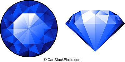 safir, från, två, perspektiv, över