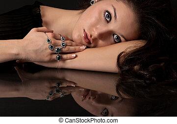 safir, och, diamant, smycken