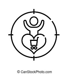 Safisfied customer line icon, concept sign, outline vector illustration, linear symbol.