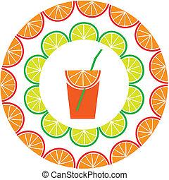 saft, aufgeschnitten, mitte, zitrone, rahmen, orange