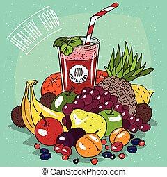 saft, früchte, fruechte, haufen , glas