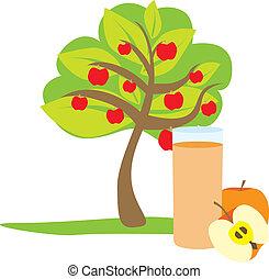 saft, glas, æble, tre