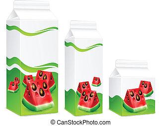 saft, verpackung, wassermelone